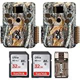 Two Browning STRIKE FORCE PRO Micro Trail Cameras (18MP) with 2 32GB Memory Cards & Focus Card Reader