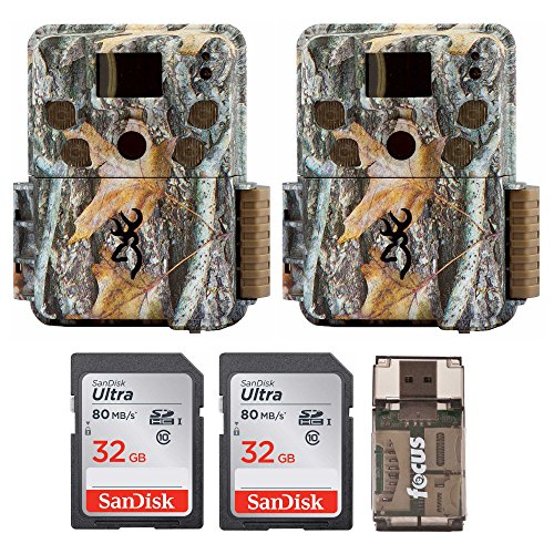 Two Browning Strike Force PRO Micro Trail Cameras (18MP) with 2 32GB Memory Cards & Focus Card Reader For Sale