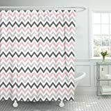 Pink and Gray Chevron Shower Curtain Emvency Shower Curtain 66