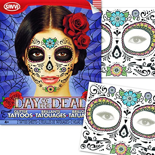 Day of the Dead Temporary Tattoos Costume Kit (Set of 2 Sugar Skull Tattoos, Flower (Day Of The Dead Sugar Skull Costume)