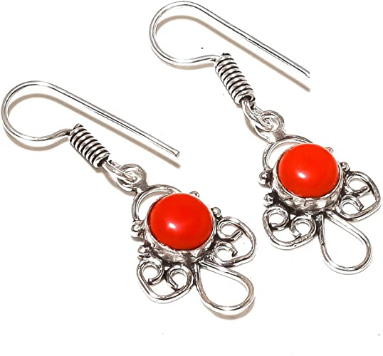 Red Coral Sterling Silver Overlay 7 Grams Earring 1.75 Long Latest Art Jewelry