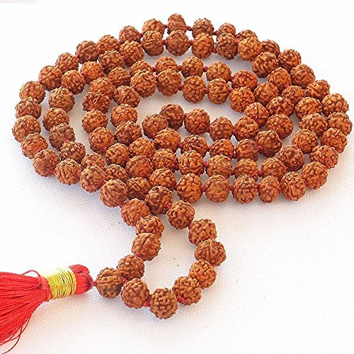 la 108 Beads necklace, Seed Bead Natural Himalaya Rudraksha Seed Prayer Beads Wrist Mala Wrap Bracelet Bead size 9 mm (Rudraksha Seed)