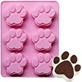 CHICHIC 6 Cavity Dog Bear Paw Silicone Baking Pan, Ice Cube Tray, Soap Mold, Chocolate Mold, Cake Mold, Cookie Mold, Pudding Mold, Jelly Mold