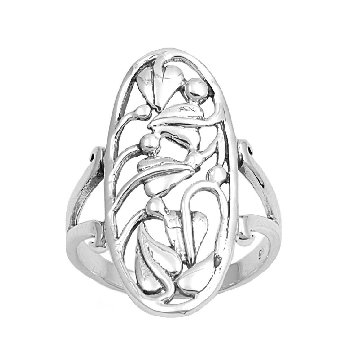 925 Sterling Silver Oblong Trace work Design Ring Size 6