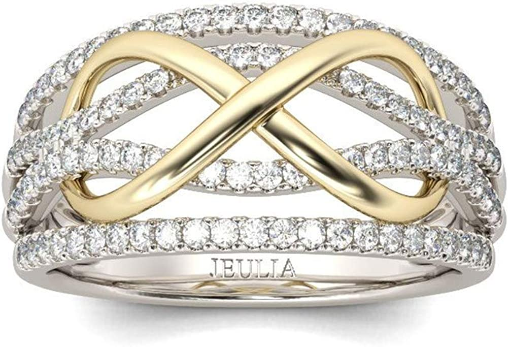Jeulia 1 Carat Wedding Band for Women Sterling Silver Infinity Cubic Zirconia Rings Two Tone Solitaire Engagement Rings Promise Anniversary with Jewelry Gift Box