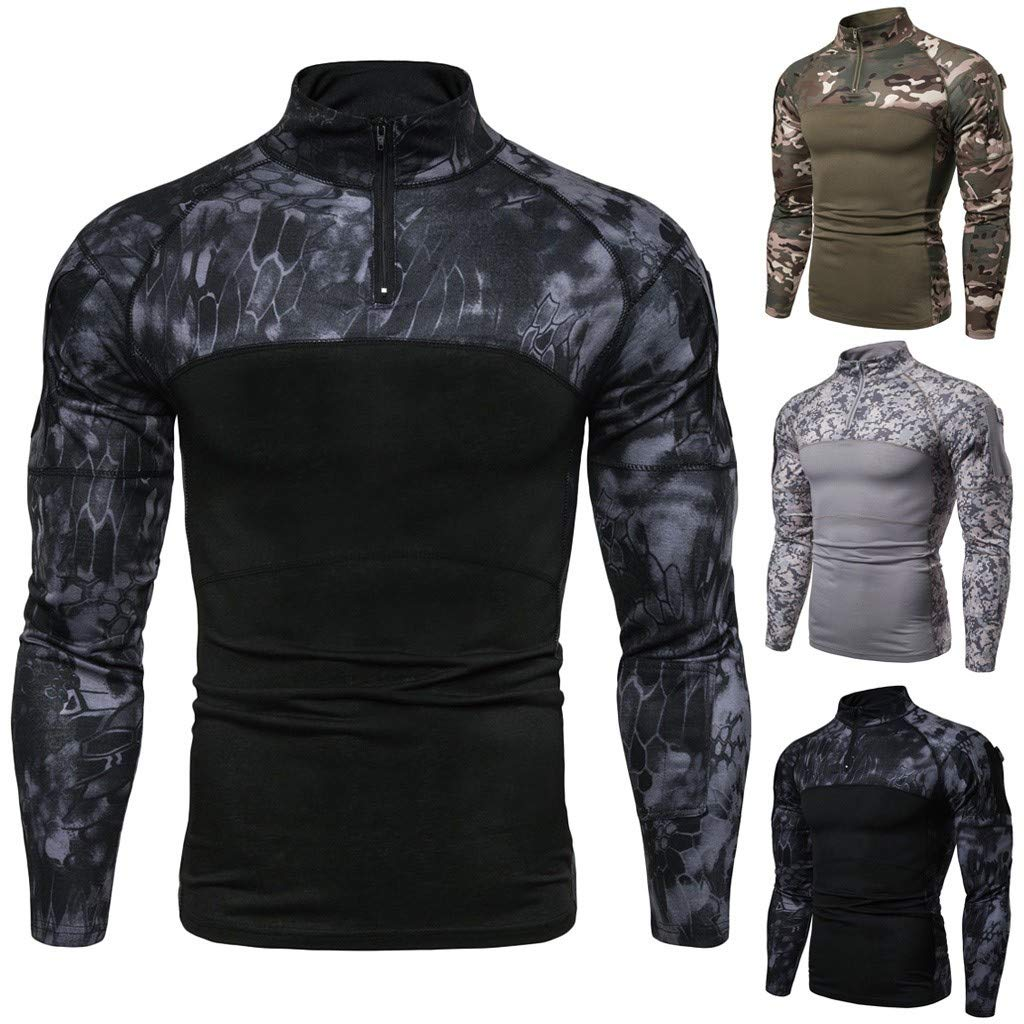 iSovze Summer Mens Outdoor Fashion Camouflage Printed Zipper Collar T-Shirt Top