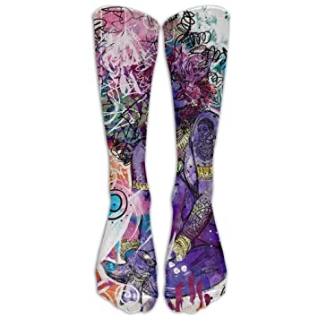 zengjiansm Calcetines Altos Gifts - African American Black Woman Abstract Graffiti Print Print Athletic Stockings Ski