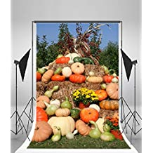 Laeacco 6x8ft Vinyl Photography Background Beautiful Arrangement fo Fall Festival theme Backdrop Pumpkins Haystacks Gourd Mums Corn Halloween Backdrop Thanksgiving Day Children Shoot Video Studio