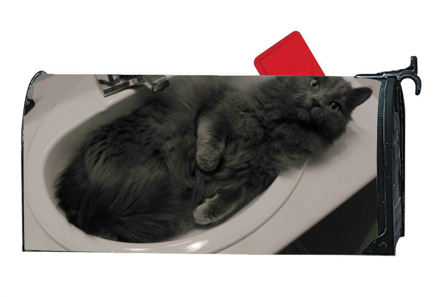 JuLeFan Cat In Sink Personalized Mailbox Cover Magnetic Fits Standard-Sized Mailboxes