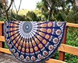 Aakriti Gallery Indian Peacock Mandala Round Roundie with frill Beach Throw Cotton Beach Towel , Round Yoga Mat with frill Beach Round Shawl, 72' Beach Leisure, Picnic Mat (Blue)