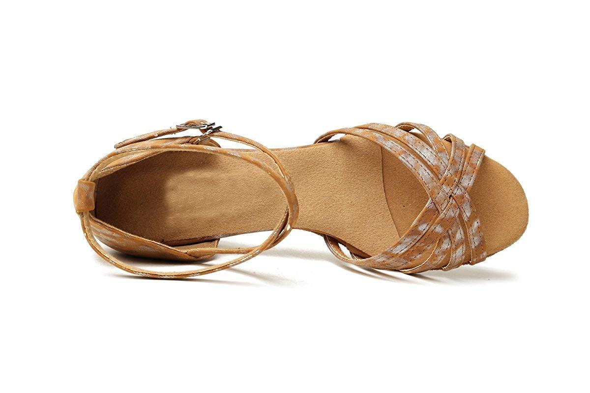Qiusa GL257 Damen Chunky Low Heel Synthetische Latin Salsa Salsa Salsa Tanzschuhe Party Sandalen (Farbe   Dark braun-3.5cm Heel Größe   7 UK) 1a62bf