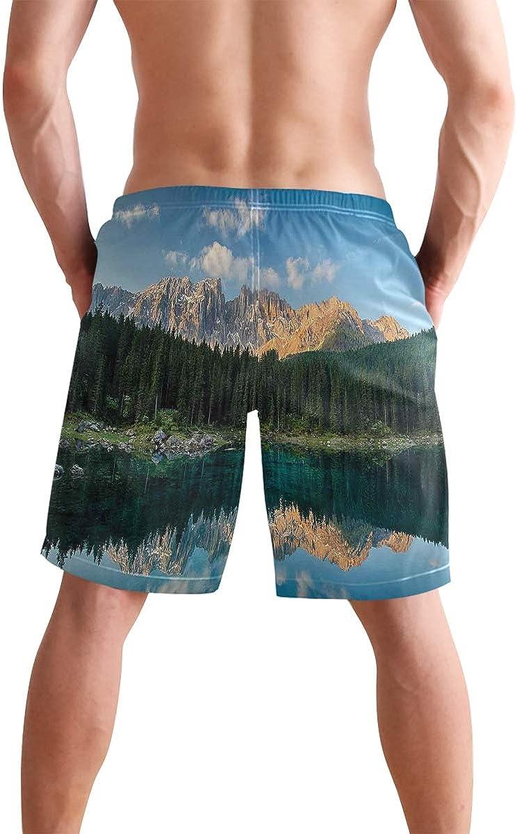 COVASA Mens Summer ShortsLake Mountain Forest Landscape Lago Di Carezza Wild N