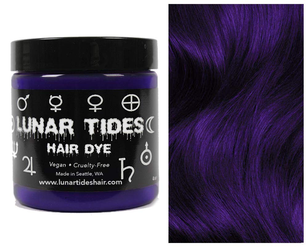 Amazon Com Lunar Tides Hair Dye Nightshade Dark Purple Semi Permanent Vegan Hair Color 4 Fl Oz 118 Ml Beauty