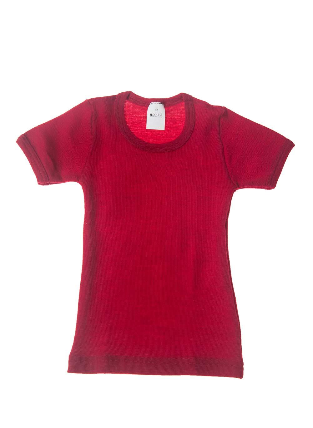 Hocosa of Switzerland Big Kids Organic Wool Short-Sleeved Undershirt, Solid Red, s.164/14 yr by Hocosa of Switzerland