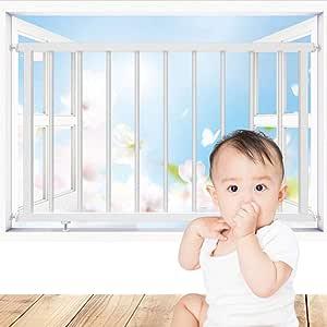 QIANDA Protección De Ventana for Bebé Rejas De Seguridad Seguridad Infantil Protectores De Ventana Barras De Rejilla Instalación Fácil - Tamaño Personalizado (Color : White, Size : L80cm x H70cm): Amazon.es: Hogar