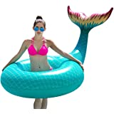 Jasonwell Giant Inflatable Mermaid Tail Pool Float Pool Tube with Fast Valves Summer Beach Swimming Pool Party Lounge…