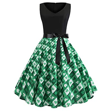 0f714cfeee1 VEZAD St. Patrick s Day Women Shamrock Evening Print Party Prom Swing Dress