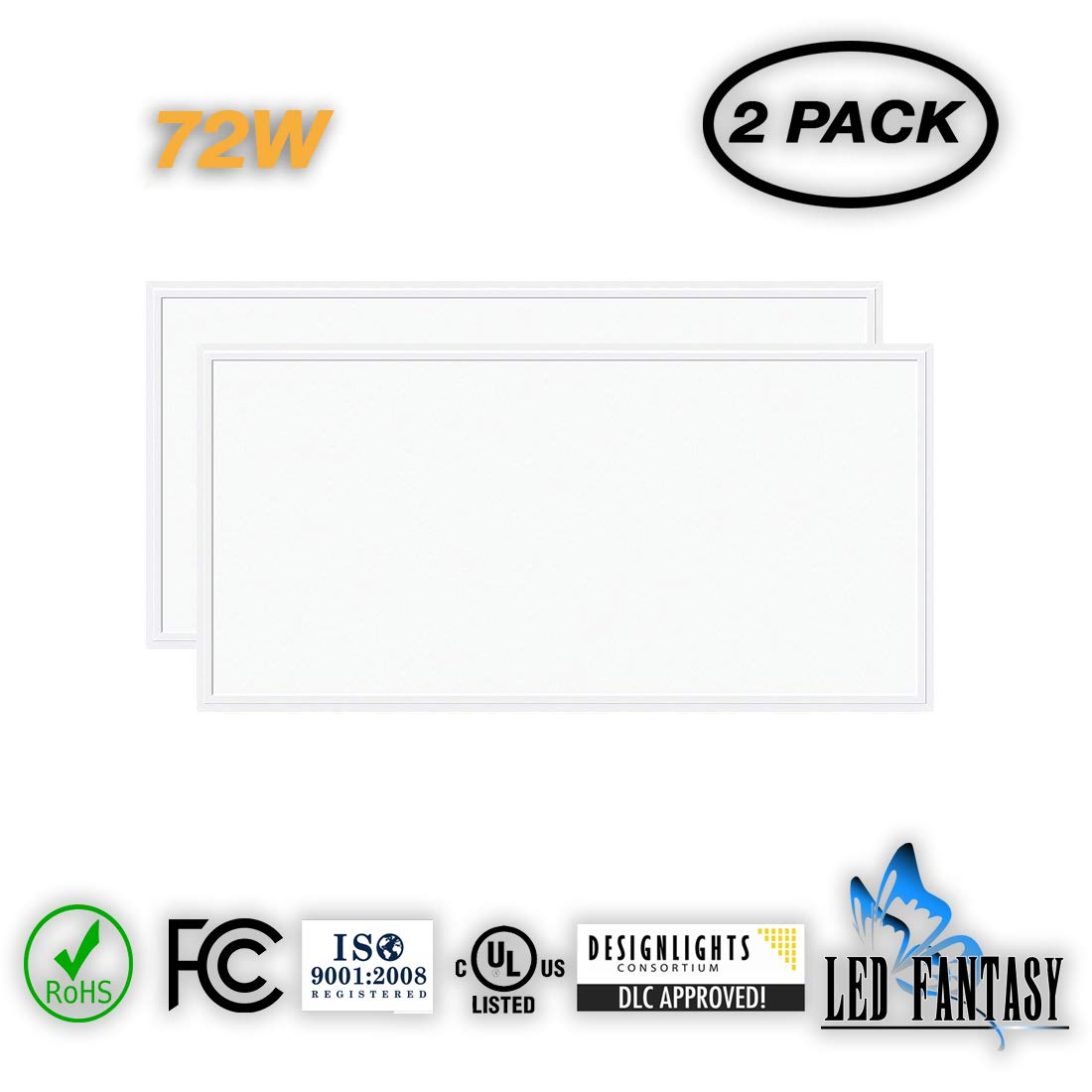 LED FANTASY LED Panel 2x4 Dimmable 72W 24''x48'' Panel (420W Equivalent), 5000K Daylight 7560 Lumens White Frame, IP40, DLC-Qualified & UL-Listed