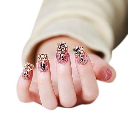 Lurrose - Juego de 24 uñas postizas para manicura postizas y ...