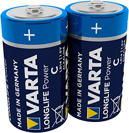 Pila VARTA Longlife Power C Baby LR14 (paquete de 2 unidades), pila alcalina - «Made in Germany» - Ideal para juguetes, linternas, reproductores de CD y otros aparatos que funcionan con pilas