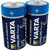 VARTA Longlife Power Batterie (C Baby, Alkaline, LR14, 2er Pack) (Design/Produktname kann abweichen)