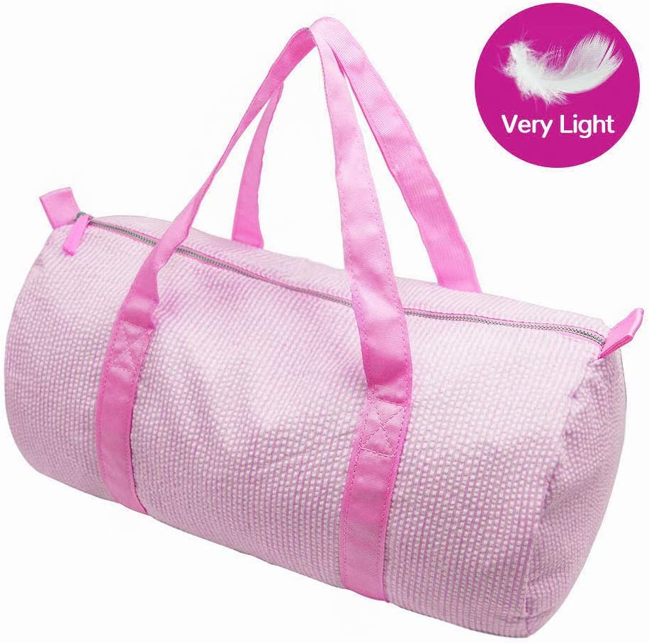 GFU Kids Cute Weekender Duffel Bag for Travel Overnight Sports Outdoor Seersucker Travel Bag Pink