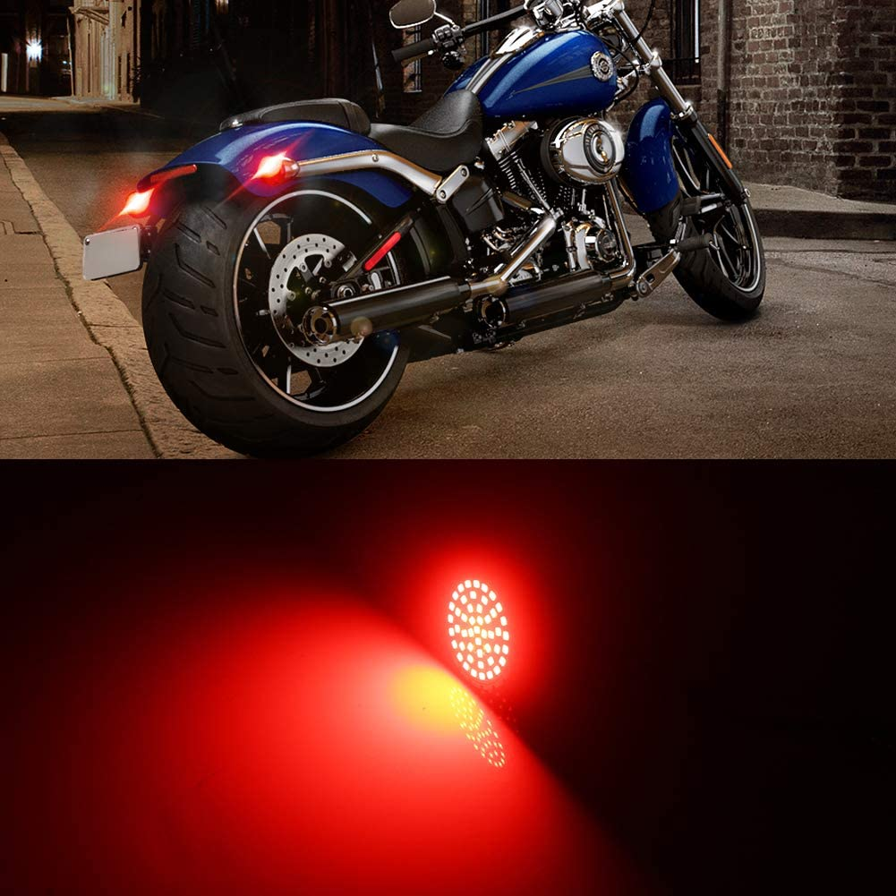 GTINTHEBOX 2 1157 Red Led Rear Turn Signals Brake Light for Harley Davidson Motorcycles,Can-bus No Hyper Flash No Resistor Required Replacements Rear Turn Signals