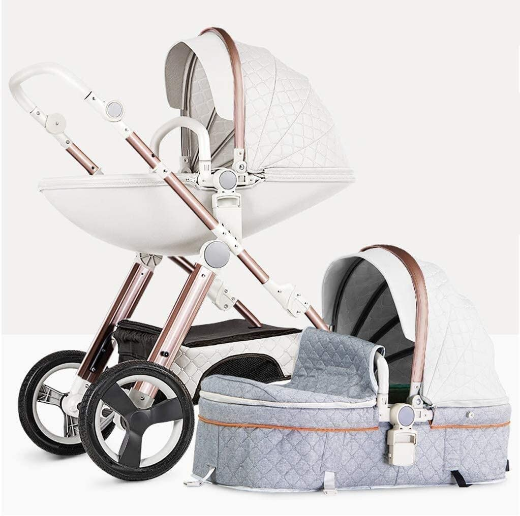 TZZ 新生児や幼児のための5ポイントセーフティハーネスラグジュアリー乳母車幼児ベビーカーとベビーカートラベルシステムマルチポジションリクライニングシート (色 : グレー)