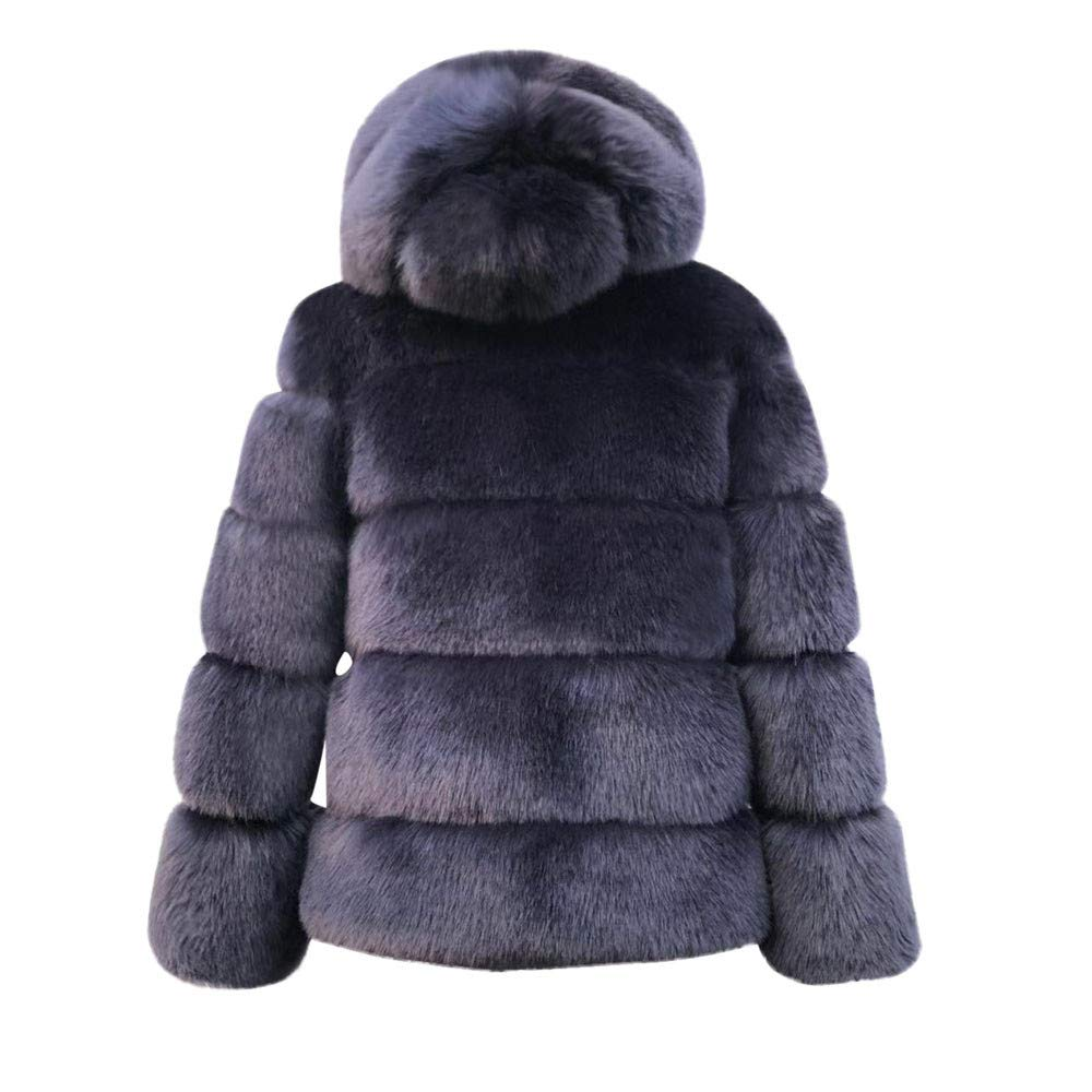 Mink Coats Winter Hooded New Faux Fur Jacket Warm Thick ...