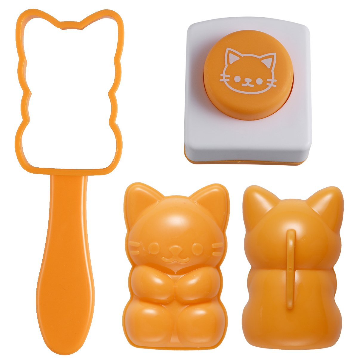 OUNONA Rice Mold Onigiri Maker Shaper Mold Cat Shape Sushi Mould with Roasted Seaweed Embossers DIY Kitchen Tool Set