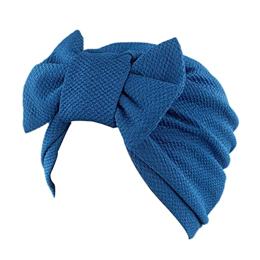 38d9077c640 Decou Solid Pattern Bowtie Dual Purpose Turban Hat Hijab Turban S020 (Blue)