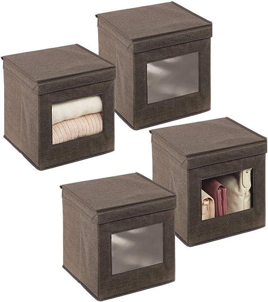 mDesign Juego de 4 cajas de almacenamiento – Organizador apilable pequeño y de fibra sintética con tapa y ventana de visualización – Cajas para ropa cuadradas para el dormitorio – marrón oscuro: Amazon.es: Hogar