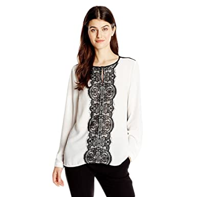 4a3555229fc White Lace Blouse Elegant Long Sleeve Office Shirt Women O Neck Blouses  Casual Patchwork Tops  Amazon.co.uk  Clothing