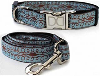 "product image for Diva-Dog 'Calligraphy Blue' Custom Medium & Large Dog 1"" Wide Dog Collar with Plain or Engraved Buckle, Matching Leash Available - M/L, XL"