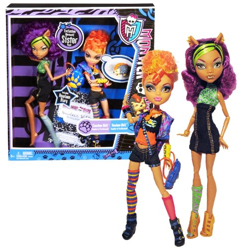 MH Year 2011 Monster High Diary Series 2 Pack 11 Inch Doll Set - Daughters of The Werewolf CLAWDEEN Wolf and HOWLEEN Wolf with Pet Cushion Hedgehog, Paw-Shaped Backpack and Diary of Howleen Wolf -