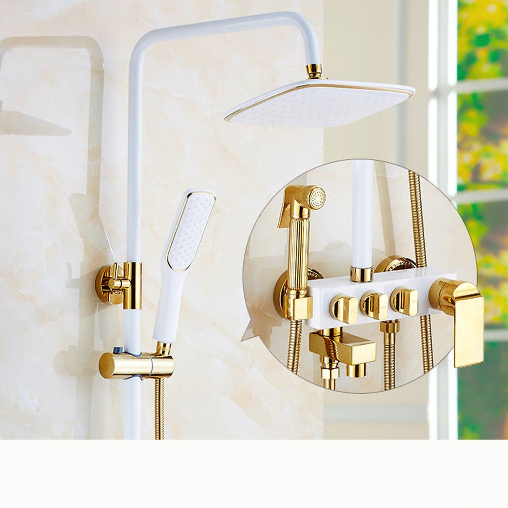 White-m Copper European Black and White Bathroom Booster hot and Cold Faucet Shower Set Wall Mounted Shower Antique Bathroom, Blac-G