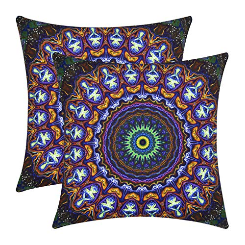 - VIPbuy Pack of 2 Soft Square Throw Pillow Cases Sofa Cushion Covers with Double Sided Print- 18 x 18 inches -No Insert-Bohemian Mandala Theme
