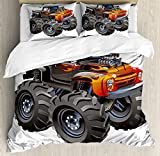 Lunarable Boy's Room Duvet Cover Set Queen Size, Monster Truck in Flame Big Hobby Sports Exotic Automobile Style Image, Decorative 3 Piece Bedding Set with 2 Pillow Shams, Charcoal Grey Orange