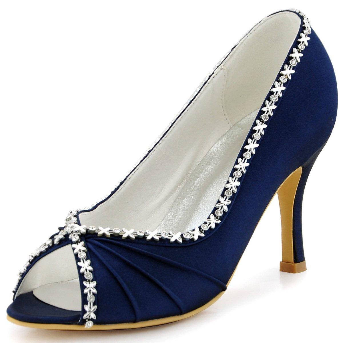 fa147864f Elegantpark EP2094 Women High Heel Pumps Rhinestone Pleated Peep Toe Satin  Evening Party Shoes Navy Blue UK 5  Amazon.co.uk  Shoes   Bags
