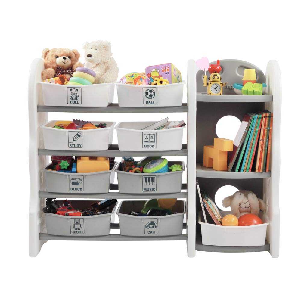 CDM product LIVING CODI Kids Toy Storage Organizer + Multi Bins & Bookshelf Set big image