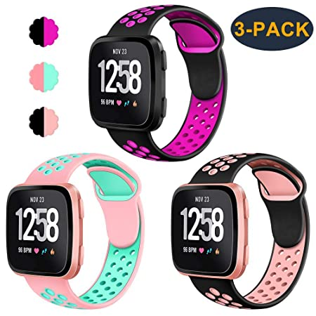 Cavn 3 Pack Bands Compatible With Fitbit Versa/Versa Lite Edition Bands For Men Women, Sweat Resistant Replacement Accessory Strap Bracelet by Cavn