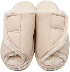 NKeepB Plush-Lined Diabetes Slippers for Women Extra Wide Arthritis Edema Shoes