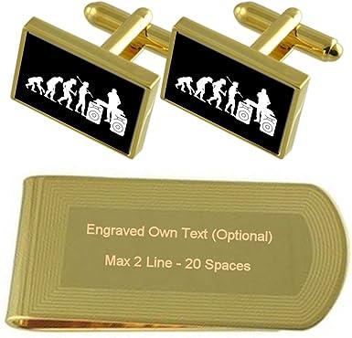 Evolution Ape to Man DJ Gole-tone Cufflinks Tie Clip Box Set Engraved Optional