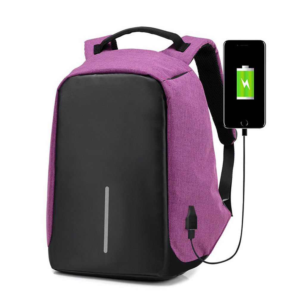 EDTara Business Backpack with USB Port for Travelling Outdoor Activities Large Capacity Waterproof Lightweight Travel Bag Purple