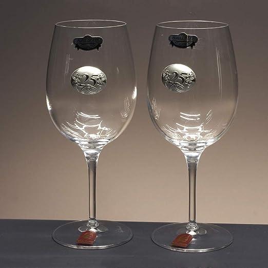 Set 2 Copas de Vino o Agua para Novios Bodas de Plata//Oro Aniversarios Aplique bilaminado. colecci/ón IMAGE-25 Aniversario