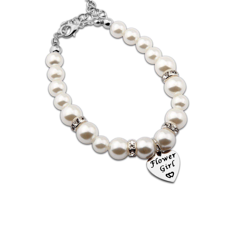 ENSIANTH Flower Girl Bracelet Wedding Party Gift Flower Girl Pearl Bracelet Childrens Kids jewelry (Bracelet)