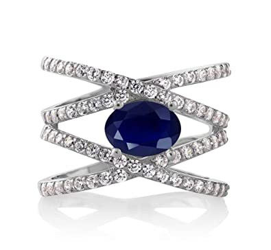 Blue Sapphire 925 Sterling Silver Women s Criss Cross Ring 2.72 Ctw Oval  Gemstone Birthstone (Size ee46c9bcf
