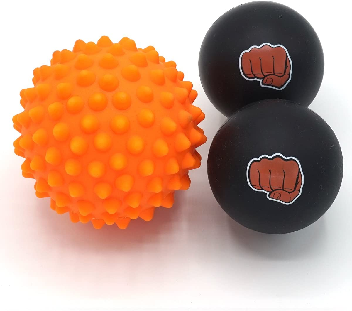 Kit de boules de massage pour athlètes - Deux (2) balles en caoutchouc solide + 1 boule de massothérapie des points gâchettes à picots souples + un sac de transport très pratique
