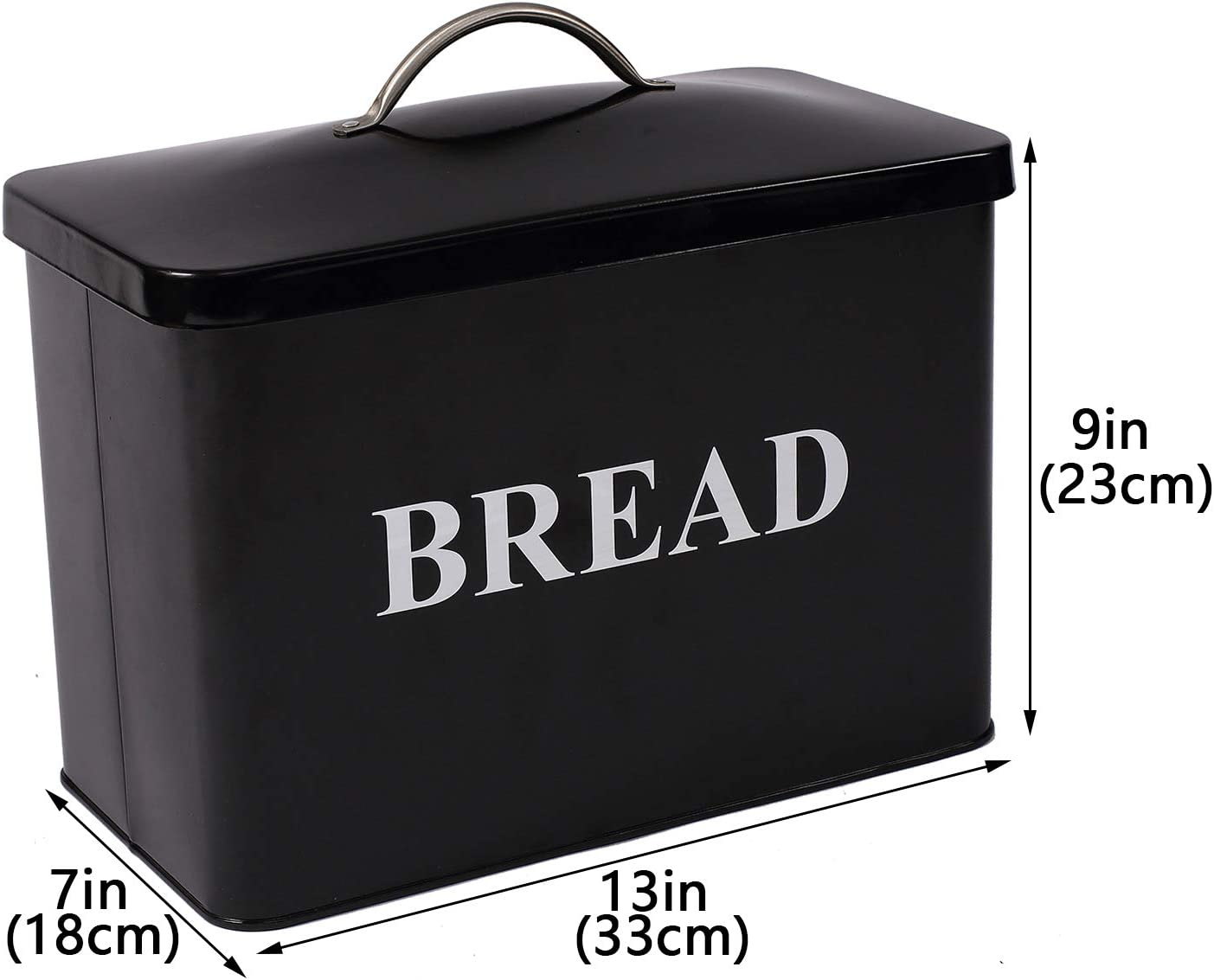 W Extra Large Space Saving Vertical Bread Box Cream Extra Large Breadbox Bread Holder x 9 x 7 L 13 - Black with BREAD Lettering H Holds 2 Loaves
