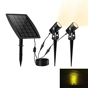 Keynice 2 pack Lampe Solaire Waterproof Extérieur Spot à LED Extérieur /  Etanche pour Paysage, Arbre, Voie, Jardin, Terrain, Pelouse, Allée et  Garage ...